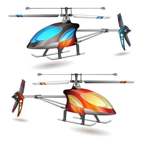 Two helicopters on white background Stock Vector - 10867408