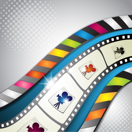 Fotogramas de la película con el fondo azul y rayas de colores Foto de archivo - 10867680