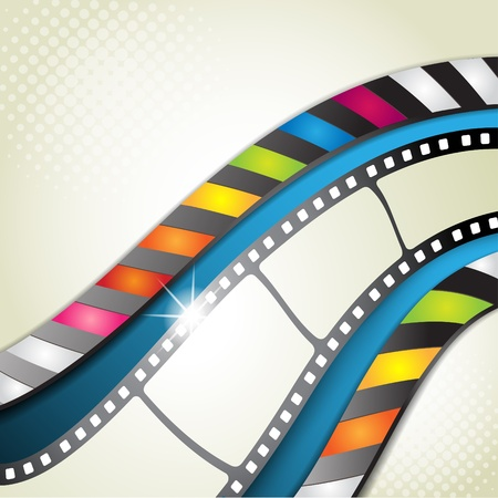 Film frames with blue background Stock Vector - 10867677