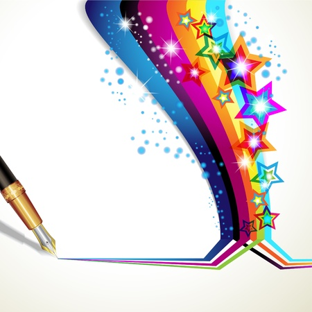 stars and stripes: Colorful background with old pen  Illustration