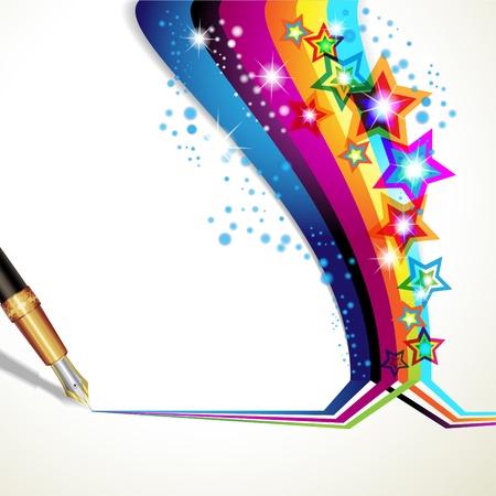 gouden ster: Kleurrijke achtergrond met oude pen