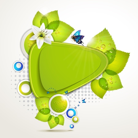 Green banner design with leaf, flower and butterflies  Vector