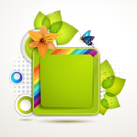 Green banner design with leaf, flower and butterfly
