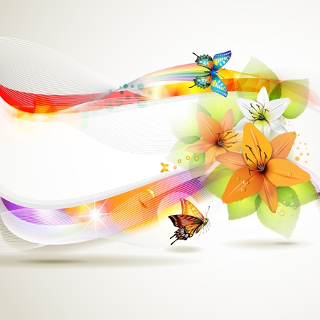 flower banner: Colorful background with butterfly and flowers  Illustration