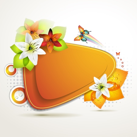 Banner design with leaf, flowers and butterflies Stock Vector - 11143359