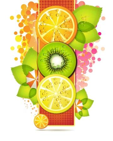 antioxidant: Orange banner with fruits slices