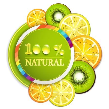 gastronomic: Slice of orange, kiwi, and lemon with percentage quality