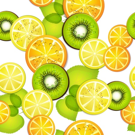 Seamless pattern with slice orange, kiwi ans lemon  Vector