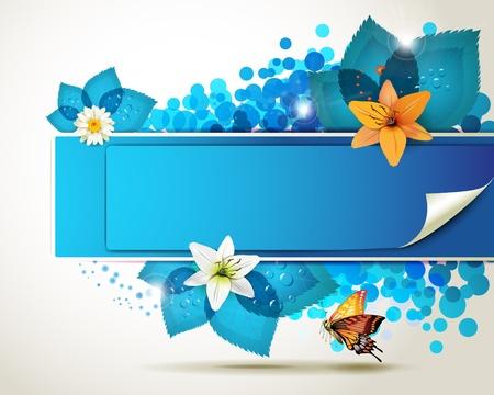 Banner de diseño con hojas, flores y mariposas Vectores