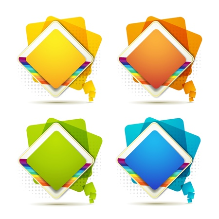 Square backgrounds with rainbow on white  Vector