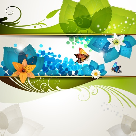 summer festival: Colorful background with butterflies