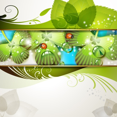 patric banner: Green background with clover and drops of water