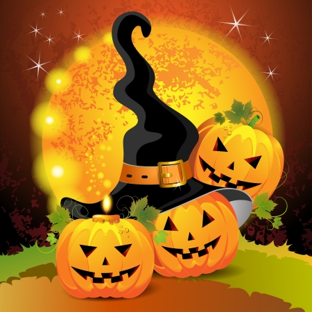 Halloween pumpkin with witches hat  Vector