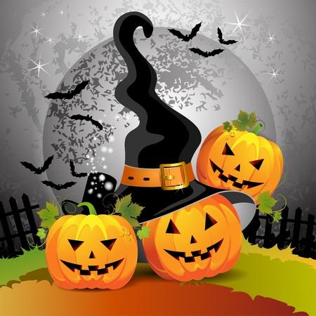citrouille halloween: Citrouille d'Halloween avec les sorci�res chapeau Illustration
