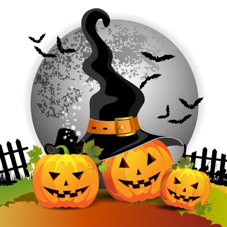 Halloween pumpkin with witches hat Stock Vector - 11143338