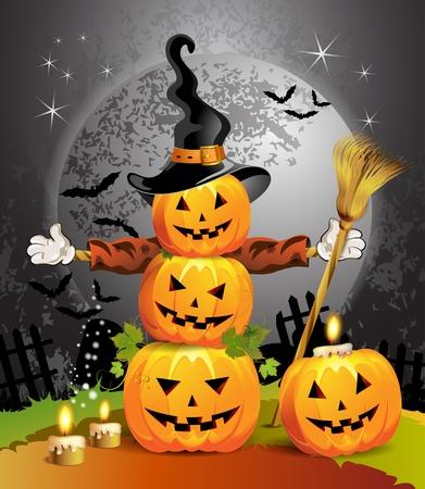 calabazas de halloween: Calabaza de Halloween con las brujas sombrero Vectores