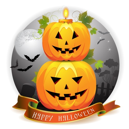 Halloween pumpkin with candle Vector