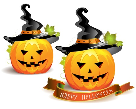 Halloween pumpkin with witches hat  Stock Vector - 11143332