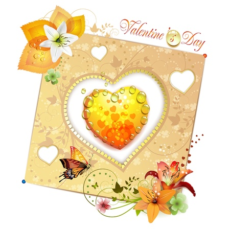 Valentines day card. Heart with lily and butterfly  Vector