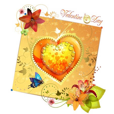 Valentines day card. Heart with lily and butterfly  Illustration