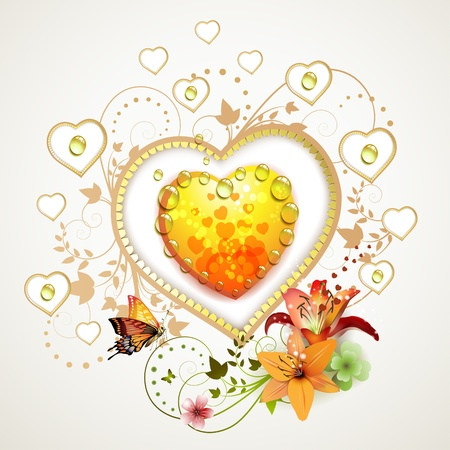 Valentine's day card. Heart with lily and butterfly  Stock Vector - 11143360