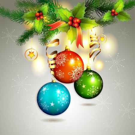 Christmas ball with pine tree branch  Vector