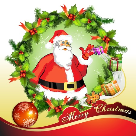 new year's cap: Christmas card, Santa Claus with gifts