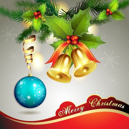 Christmas ball with pine tree and bells  Vector
