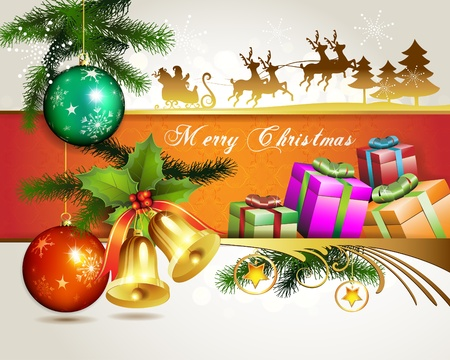 Christmas ball with bells and gifts  Vector