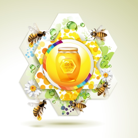 captivated: Glass jar with bee and honeycomb over floral background