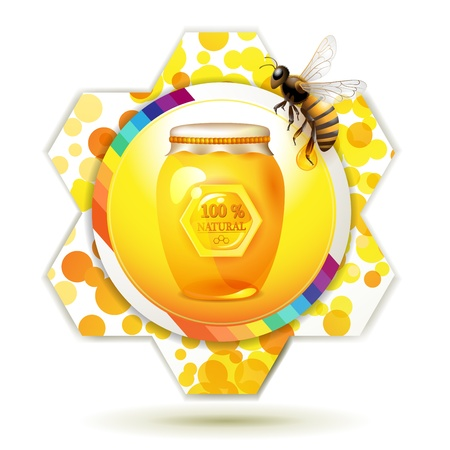 captivated: Glass jar with bee and honeycomb over white background