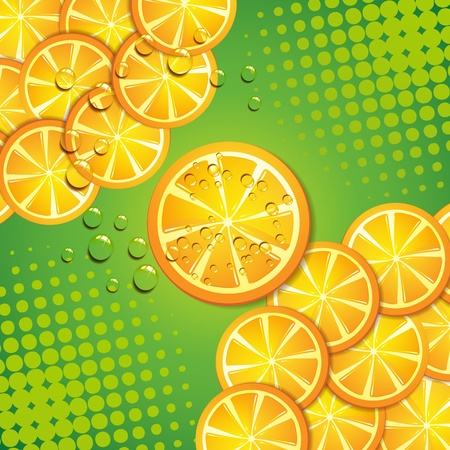 Green background with orange slice Stock Vector - 11659040