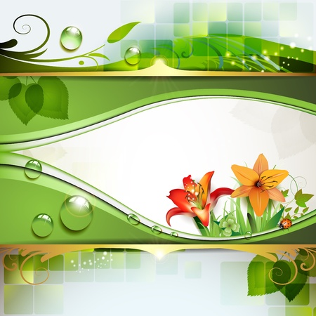 animal themes: Green background with lily and drops of water  Illustration