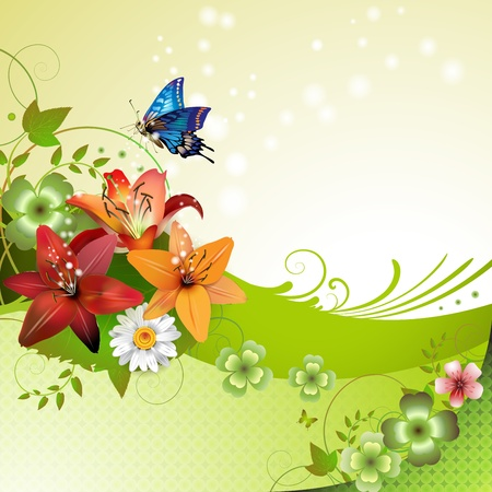 lily leaf: Springtime background with flowers and butterflies