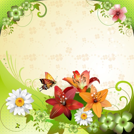 Springtime background with flowers and butterflies Vector