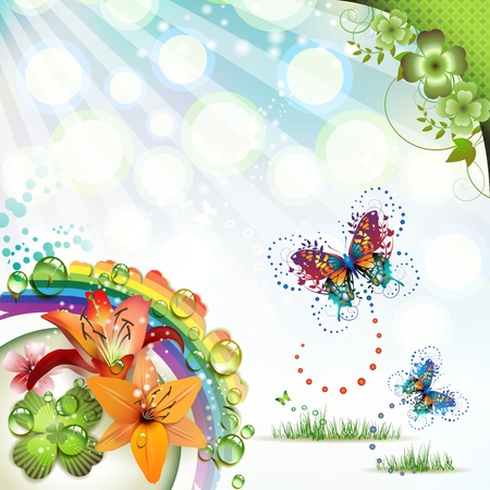 Springtime background with flowers and butterflies Vektorové ilustrace