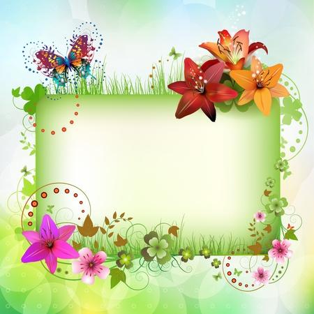 mariposa azul: Banner con flores y mariposas