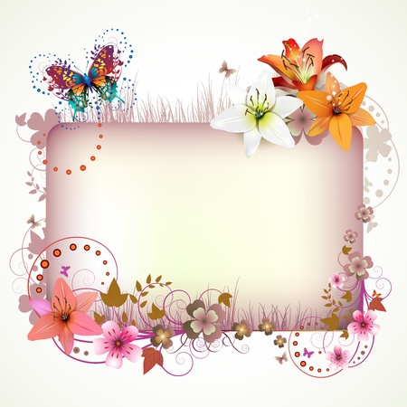 butterfly background: Banner with flowers and butterflies