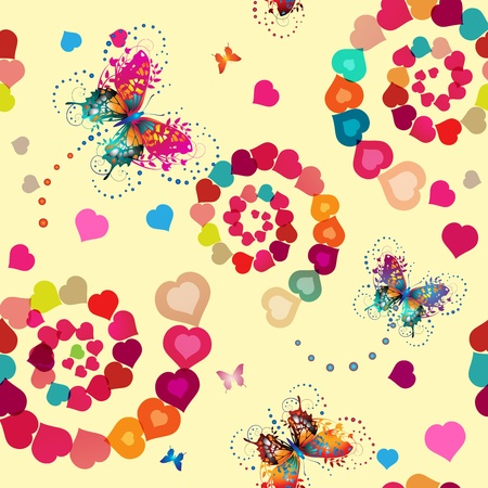 blend: Seamless pattern with hearts and butterflies for Valentine