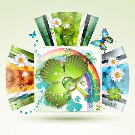 Abstract backgrounds with clover and butterflies  Vector