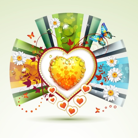 Valentine s day card with butterflies and flowers Vector