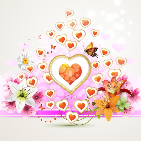 Valentine s day card with butterflies Stock Vector - 12071242