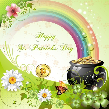 st  patrick s: St. Patrick s Day card design with clover and coins