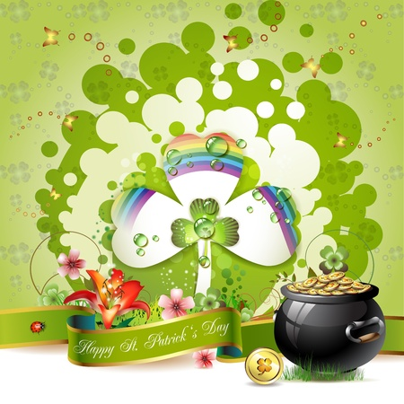 St. Patrick s Day card design with clover and coins Vector