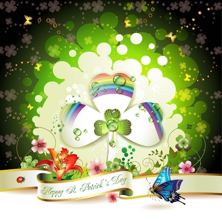 St. Patrick s Day card design with clover  Stock Vector - 12071222