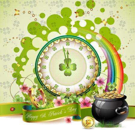 st patrick s day: Giorno di San Patrizio s card design con orologio e monete