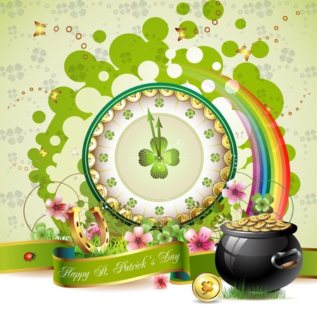 lucky clover: St. Patrick s Day card design with clock and coins