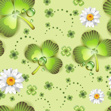 patric background: Seamless pattern with clover and flowers for St. Patrick