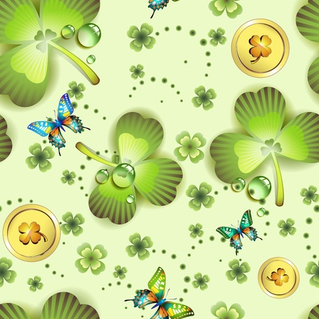Seamless pattern with clover and coins for St. Patrick Stock Vector - 12063204