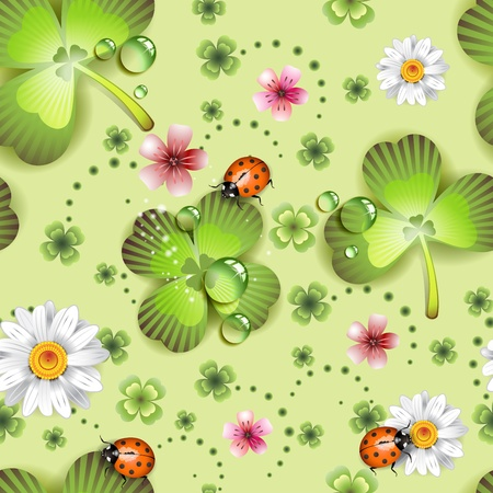Seamless pattern with clover and flowers for St. Patrick Vector
